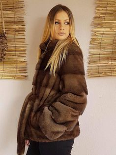 Real new mink fur coat jacket saga brown mexa nerzmantel fox