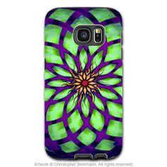 Green and Purple Abstract Galaxy S7 Case - Kalotuscope - Geometric Lotus Art Samsung Galaxy S7 Tough Case