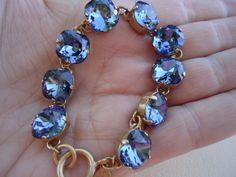 Catherine Popesco Stunning Gold Midnight Blue Swarovski Crystal Bracelet | eBay