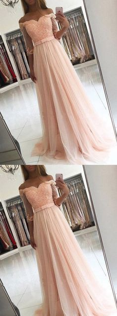 Off the Shoulder A-line Floor Length Prom Dress Semi Formal Dresses Wedding Party Dress LP186