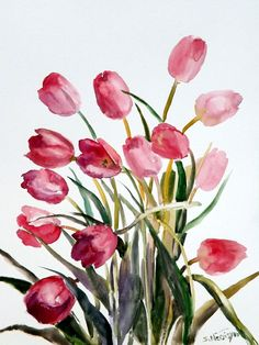 Tulips, original large watercolor painting, 20 X 15