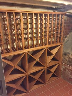 Solid pine wine racking with individual bottle storage as well as storage cubes. All supplied by Wineware in the UK.