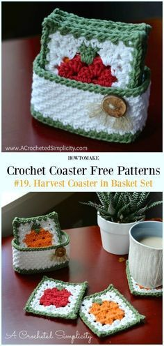 Crochet Designs Harvest Coaster in Basket Set Free Crochet Pattern - Easy Crochet Home, Crochet Gifts, Free Crochet, Crochet Motif, Crochet Flowers, Crochet Mittens, Crochet Kitchen, Sewing Patterns Free Home, Knitting Patterns Free