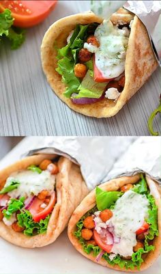 These Vegetarian Gyros make a quick and unbelievably tasty version of the popular Greek sandwich. Even meat-lovers will enjoy them! Vegetarian Sandwich Recipes, Vegetarian Wraps, Good Healthy Recipes, Veggie Recipes, Cooking Recipes, Vegetarian Gyro Recipe, Delicious Vegetarian Meals, Vegetarian Dinner For One, Easy Vegitarian Dinner Recipes