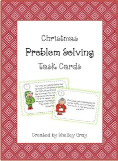 This resource includes eight Christmas-themed problem-solving task cards.Print and laminate the task cards, photocopy a recording sheet for each student, and place at a math workstation to create an instant problem-solving center. Problem Solving Activities, Math Activities, Therapy Activities, Therapy Ideas, Math Resources, Math Games, Classroom Freebies, Math Classroom, Classroom Ideas