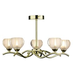 Cynthia 5 Light Semi Flush Polished Brass
