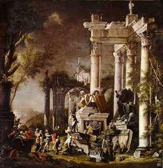 Alexander at the tomb of Achilles. 17th.century. Monogrammist GAE. oil on canvas.