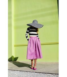 @Who What Wear - Blair Eadie of Atlantic-Pacific   Eric Javits hat; Arden B. top; Tibi skirt; Belle by Sigerson Morrison Able Ankle Strap Flats ($195).