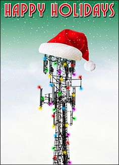 Sandblasting greeting card glossy white 2055 santa cell tower christmas cards personalized for your business reheart