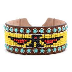 Browsing Store - Streets Ahead Brown Beaded Leather Cuff