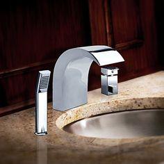 Chrome Finish Stainless Steel Contemporary-tyyli Laaja bathroom sink hanat Handheld Hana – EUR € 172.72