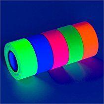5-Pack UV Blacklight Reactive Fluorescent / Neon Gaffer Tape Matte Finish (various sizes) (1 in x 18 ft)