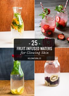 25 Fruit-Infused Waters for Glowing Skin For a spa-worthy experience at home, try one of these brilliant (and skin-friendly) infused water ideas. Infused Water Recipes, Fruit Infused Water, Infused Waters, Fruit Water Recipes, Healthy Eating Tips, Healthy Nutrition, Healthy Drinks, Healthy Water, Healthy Detox