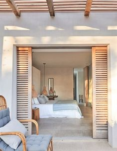 BEDROOM DESIGN IDEAS - Find your favorite bedroom photos here. Browse through images of inspiring bedroom design ideas to create your perfect home. Bedroom Shutters, Exterior Shutters, Wood Shutters, Bedroom Design Inspiration, Design Ideas, Design Design, Sweet Home, Villa Design, Home Bedroom