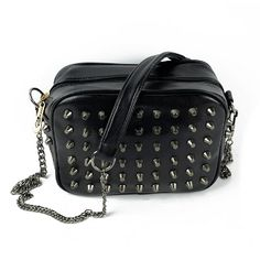 "Punk Style Studded Mini Purse / Shoulder Bag / Cross-body Bag   $17.50  http://shop.thorns2roses.com/Punk-Style-Studded-Mini-Purse-Shoulder-Bag-Cross-body-Bag-4010-DLDS-13820.htm  One back zipper pocket. One phone pocket. One inside zipper pocket. Removable Shoulder Strap Material: Synthetic Leather  Colors: Black, Beige, Green, Rose  Style: Shoulder Bag/Cross Body  Bag Size: Approx. 8.7"" x 6.3"" x 4.3"" (L x W x D)  Strap Length: Approx. 53.5""  Closure Type: Zipper"