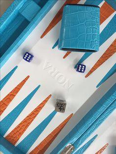 Backgammon cuir impression crocodile turquoise - Personnalisation client
