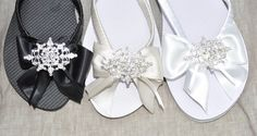 Bridesmaid Flip Flops, Wedding Flip Flops, Decorating Flip Flops, Organza Bags, Black Satin, Flipping, Oysters, Special Gifts