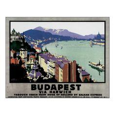 Vintage Budapest Hungary Travel Poster Art #Poster #Vintage #Budapest #Europe