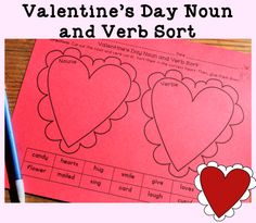Valentine's Day Grammar: Noun and Verb Sort and other grammar activities - great for February print and go activities!