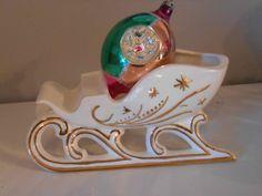 Vintage Christmas White Sleigh Napco Lefton Japan