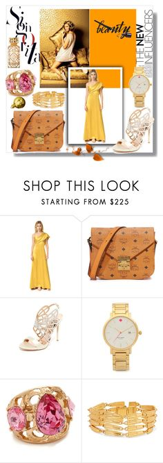 """Christmas in Yellow!!"" by stylediva20 on Polyvore featuring Cushnie Et Ochs, MCM, Badgley Mischka, Kate Spade, Oscar de la Renta, Ben-Amun and Tory Burch"