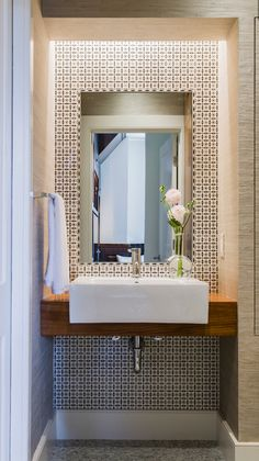Powder Room idea - love the basin and use of timber