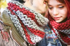 A Disgustingly Adorable Cowl by Sylvia Bo Bilvia FREE PATTERN on Ravelry made using 15mm needles and super bulky/chunky yarn will keep you warm and looking good for men and women alike