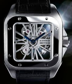 By ASHOK SOMAN The Santos 100 Squelette watch from luxury titan Cartier is one of the brand's strongest haute horlogerie statements. This time-only watch debuted this year at the recently concluded SIHH and is already on its way to becoming an icon. High End Watches, Fine Watches, Cool Watches, Rolex Watches, Cartier Watches, Jewelry Watches, Patek Philippe, Devon, Omega