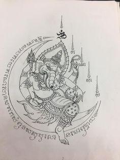 สักยัน Tamil Tattoo, Khmer Tattoo, Thailand Tattoo, Thailand Art, Symbolic Tattoos, Unique Tattoos, Tattoo Com Significado, Religious Art, Religious Images