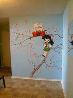 Inuyasha, very cool. I want to do this, paint an illustration on my bedroom wall. Inuyasha E Kagome, Kagome And Inuyasha, Anime Naruto, Manga Anime, Awesome Anime, Anime Love, Otaku Room, Anime Couples, Totoro