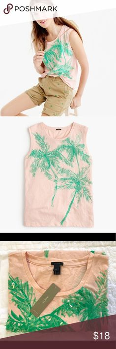 J. Crew Muscle tank top with sequin palm trees New with tag. Lovely peach/blush tank with green palm trees. Perfect for summer! Sold out online. - Smoke-free & pet-free home - Sorry no trade  PRODUCT DETAILS The muscle tank + sequin-covered, one-of-a-kind palm trees = the perfect combination.  Cotton/poly. Hand wash. Import. Item G4867. J. Crew Tops Tank Tops