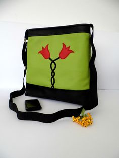 Tulipe appliqued faux leather purse by MelindasSewingCorner, $80.00