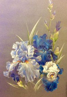 Купить Ирисы - голубые ирисы, цветы, Живопись, картина для интерьера, подарок на 8 марта
