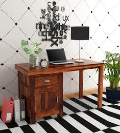 Buy Oriel Solid Wood Writing Table in Honey oak Finish by Woodsworth Online - Modern Writing Tables - Tables - Furniture - Pepperfry Product Solid Wood Furniture, Furniture For You, Modern Furniture, Writing Table, Indian Homes, Wooden Tables, Study Tables, Home Decor Styles, Laptop Table