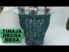 DIY TINAJA,JARRÓN, ORZA HECHA MESA - JAR CONVERTED INTO TABLE - YouTube