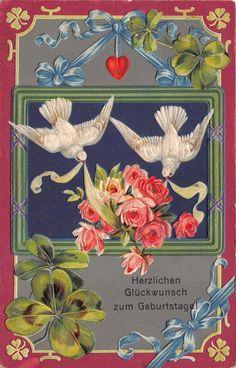 BG8971 pigeon flower rose clover embossed geburtstag birthday greetings germany • AUD 10.94 - PicClick AU