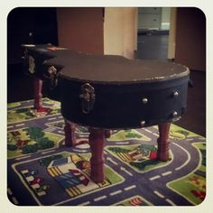 Coffee table made out of an old guitar case