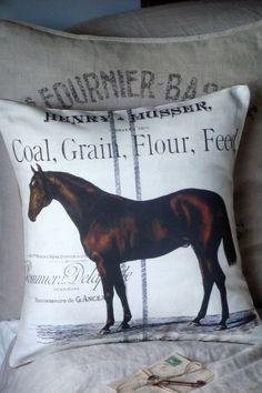 Vintage Equestrian Farmhouse Pillow Cover Burlap by JolieMarche, $35.00