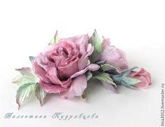 """Купить Цветы из шёлка. Роза """"Акварель"""" - бледно-розовый, пастельный жемчуг, цветы ручной работы"""