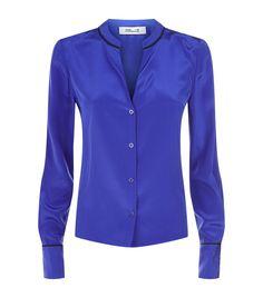 Diane Von Furstenberg Collarless Silk Blouse In Blue Shirt Without Collar, Karen Page, Blue Blouse, Silk Top, Diane Von Furstenberg, Blue Tops, Feminine, Blouses, Womens Fashion