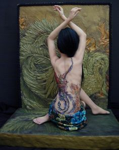 Phoenix by Renata Jansen One of a Kind OOAK 3D Paintings in Clay - Polymer Sculptures