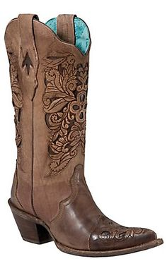 Corral® Ladies Brown w/ Chocolate Inlayed Floral Tool Pointed Toe Western Boots | Cavender's