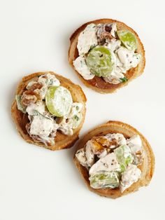 Chicken and Waffles : Mix chicken salad with some sliced grapes and chopped walnuts. Spoon onto toasted mini whole-wheat waffles.