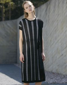 #AdoreWe #VIPme Shift Dresses - Designer SIKYA Black Striped Belted Knitted Midi Dress - AdoreWe.com