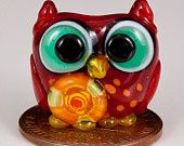 Red Orange Owl Lampwork Glass Bead by May Beads on Etsy