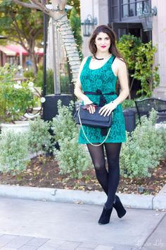 Holiday Style,12 Days of Holiday Style  Outfit 5, LA Fashion Blogger Laura Lily, What to wear to a holiday party, what to wear to an office party, cute holiday party outfit, Express Lace green dress, black and white winter coat,