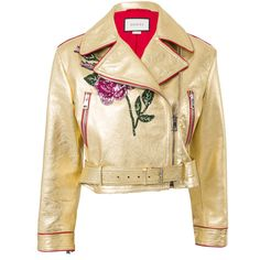 Gucci Short Biker Jacket (302.955 RUB) ❤ liked on Polyvore featuring outerwear, jackets, gucci, coats, gold, short leather jacket, motorcycle jacket, genuine leather jackets, biker jackets and short jacket