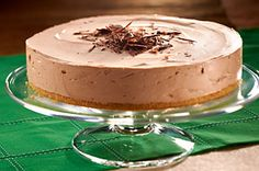 Festive Irish Cream Cheesecake recipe - Serve this no-bake chocolate cheesecake—flavored with Irish cream liqueur—on St. Paddy's Day or for any festive occasion.