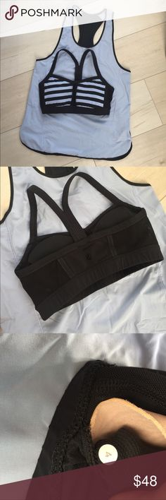 Lululemon periwinkle bra and tank set Size 4. Very good condition, rarely worn. The tank has snaps on the underside of the shoulder straps. They snap around the bra straps to hold in place, but can be worn separately. Made for running, the tank is a very lightweight and breezy material. Lululemon logos on the back center of the bra and on the bottom left corner of the tank. lululemon athletica Other