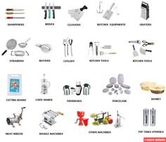 Kitchen Utensils Equipment Names - English For Children - Kitchen Tools Kitchen Tool Names, Kitchen Tools And Gadgets, Kitchen Supplies, Kitchen Ideas, Kitchen Utensils And Equipment, Cooking Utensils, Cooking Tools, Serving Utensils, Kitchen Design Gallery